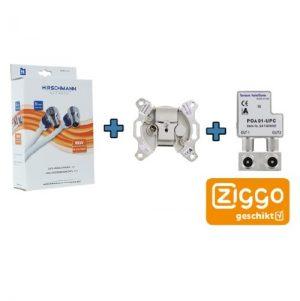 Ziggo Bundel 1 – Hirschmann coax kabel – eengats einddoos – opdruksplitter