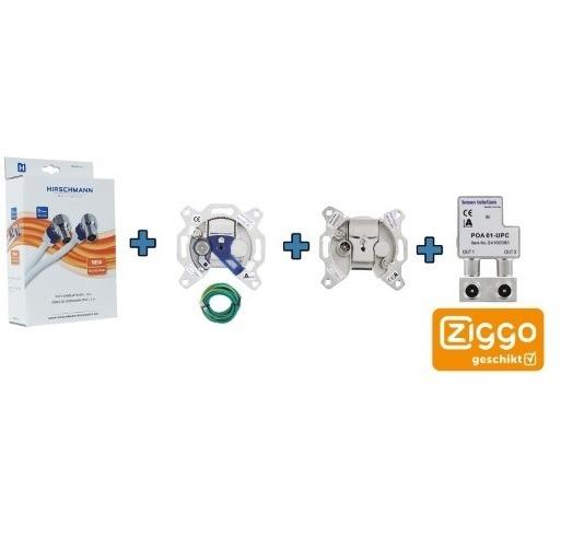 Ziggo Bundel 3 – Hirschmann coax kabel -Signaal overnamen punt BTV 1- eengats einddoos – opdruksplitter-