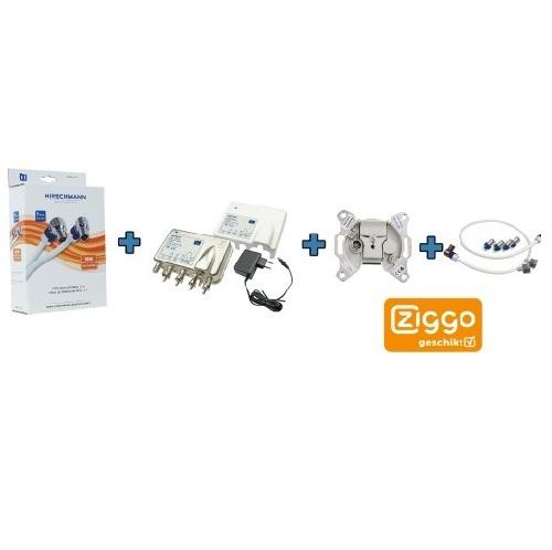 Ziggo Bundel 4 – Hirschmann coax kabel -Signaal overnamen punt BTV 1- eengats einddoos – opdruksplitter-TECHNETIX FRA 752