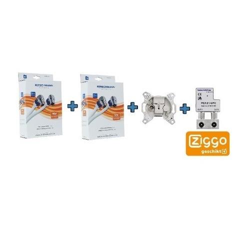 Ziggo Bundel 2 – Hirschmann coax kabel – eengats einddoos – opdruksplitter (kopie)